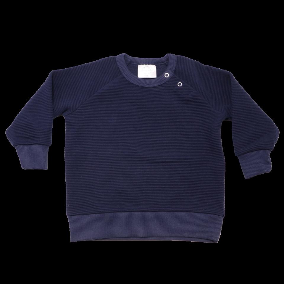 Bluză uni bleumarin din bumbac cu capse pe umăr