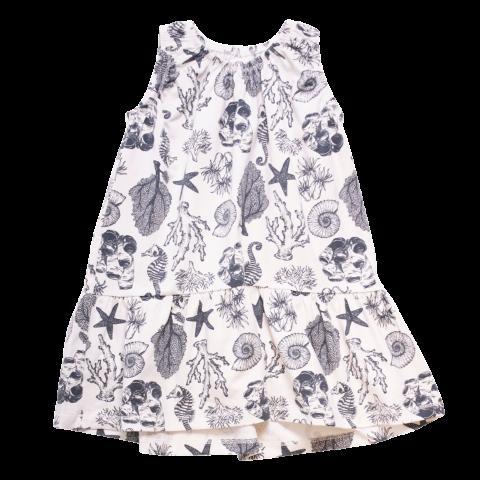 Rochie albă cu imprimeu scoici