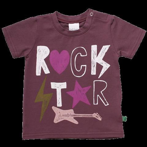 Tricou mov prună cu imprimeu text Rock Star