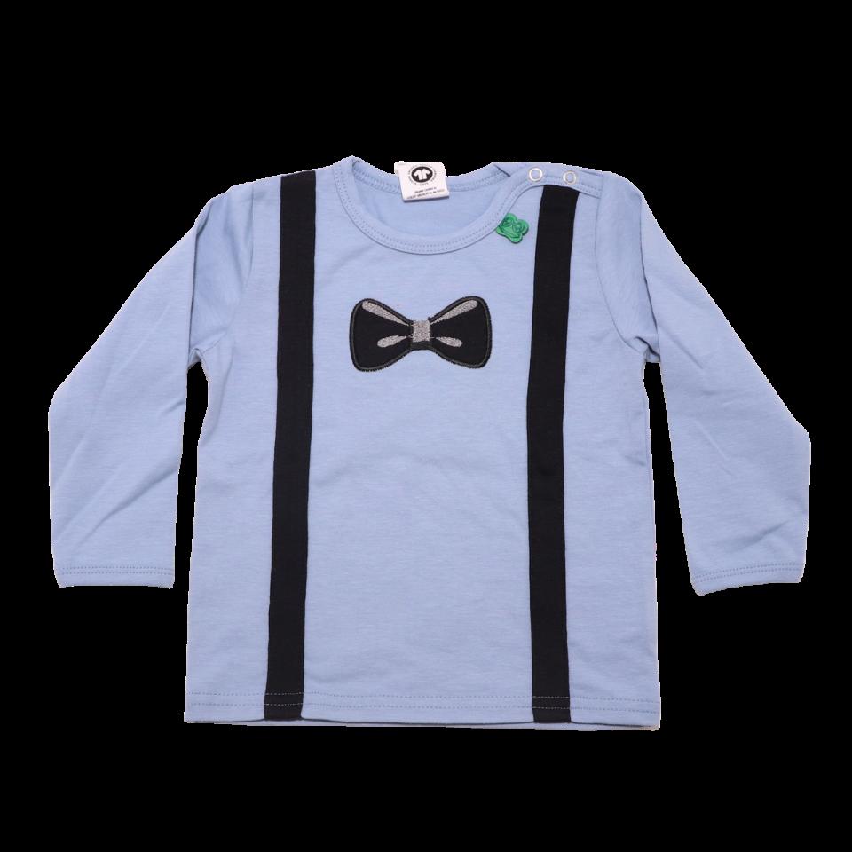 Bluză bleu din bumbac organic cu bretele și papion imprimate