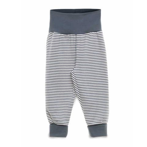 Pantaloni cu dungi și talie bleumarin