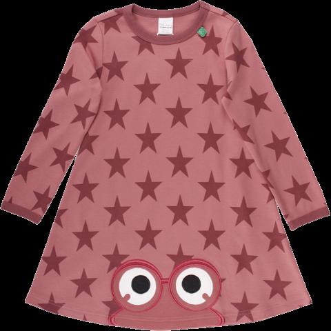 Rochie roz confortabilă cu mânecă lungă și imprimeu steluțe
