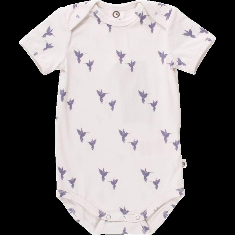 Body alb cu imprimeu păsări