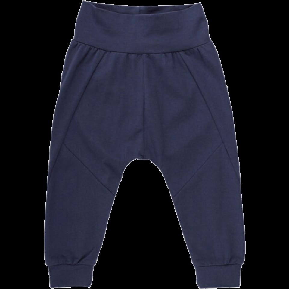 Pantaloni albastru petrol cu manșete și bandă elastică