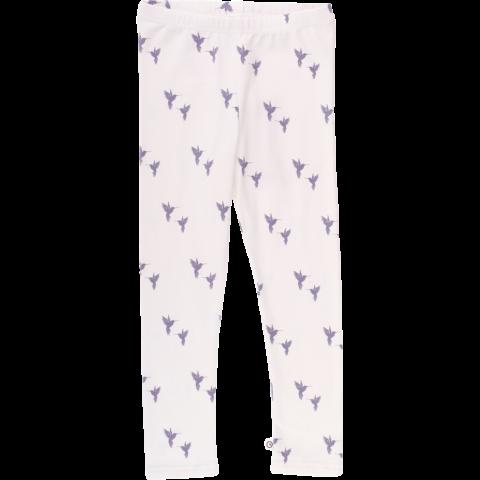Colanți albi cu imprimeu păsări