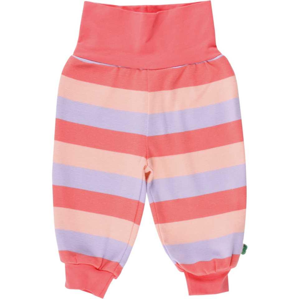 Pantaloni corai cu dungi roz și lila