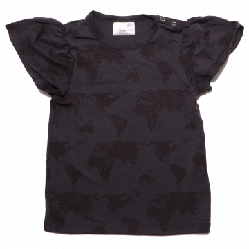 Tricou negru din lyocell cu imprimeu hartă