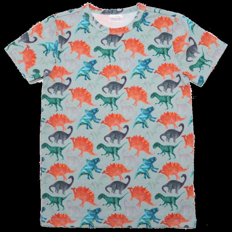 Tricou verde cu imprimeu dinozauri colorați