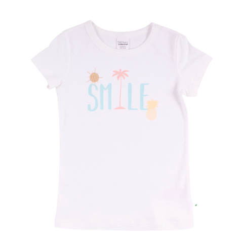 Tricou alb cu mânecă scurtă și imprimeu text pentru fete