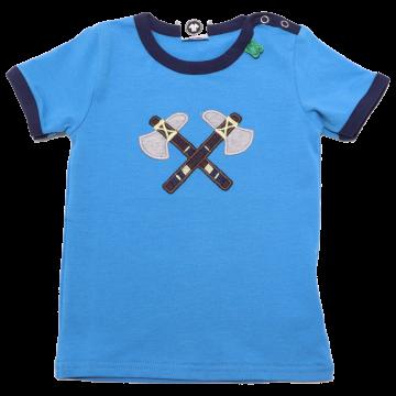 Tricou albastru cu aplicație topoare de indian