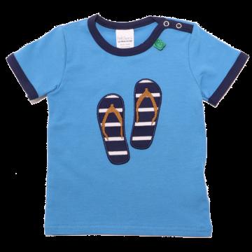 Tricou albastru cu aplicație șlapi