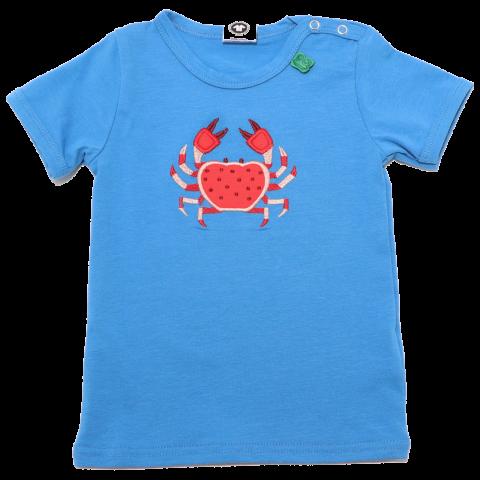 Tricou albastru cu aplicație crab roșu