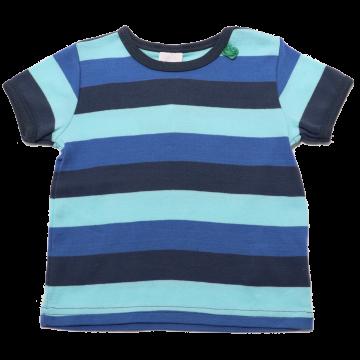 Tricou cu dungi late albastre, bleumarin și verzi