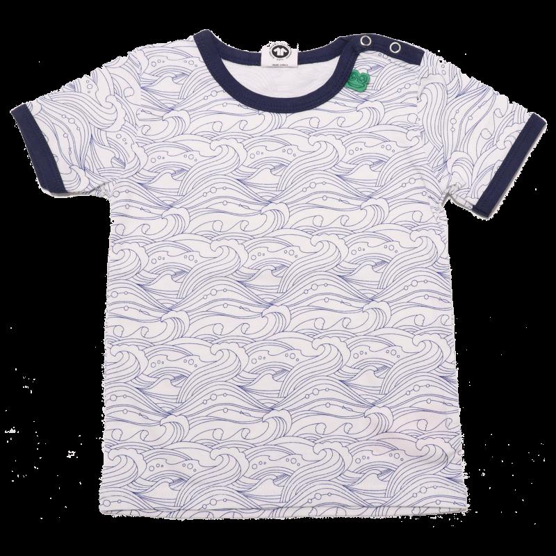 Tricou alb cu imprimeu valuri bleumarin