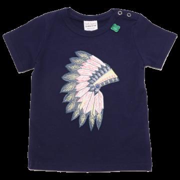 Tricou bleumarin cu aplicație pene indian
