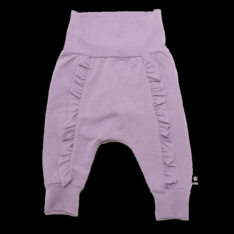 Pantaloni fancy lila cu volănașe în față