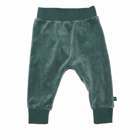 Pantaloni din catifea verde prăfuit pentru copii