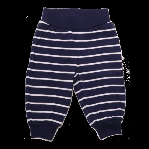 Pantaloni bleumarin cu dungi subțiri albe
