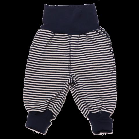 Pantaloni bleumarin cu dungi albe