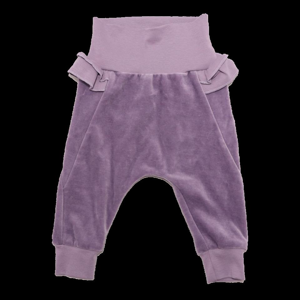 Pantaloni lila din catifea din bumbac organic