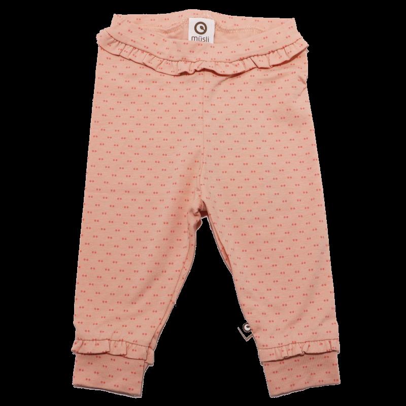 Pantaloni piersică și cu imprimeu puncte