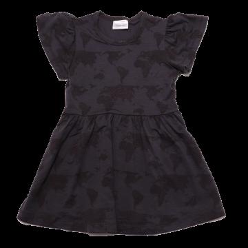 Rochie neagră din lyocell cu imprimeu hartă
