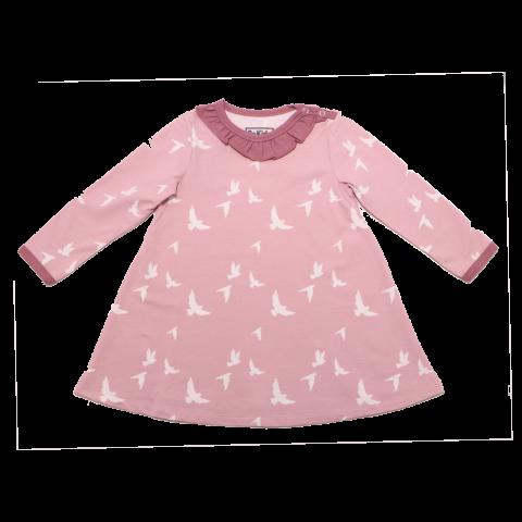 Rochie roz prăfuit cu imprimeu păsări