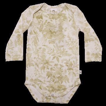 Body alb cu mânecă lungă și imprimeu vintage din bumbac organic