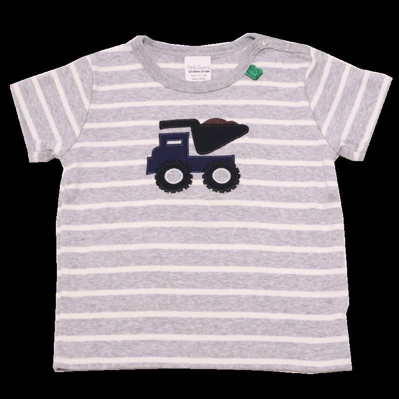 Tricou gri cu dungi albe și mașinuță aplicată