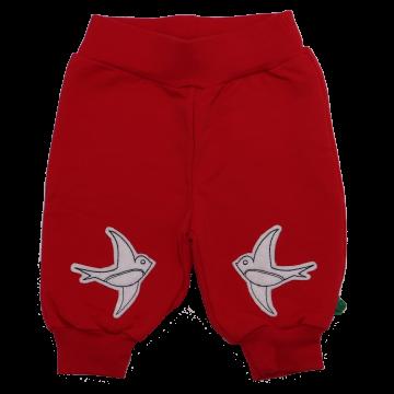 Pantaloni roșii cu imprimeu brodat