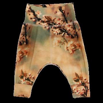 Pantaloni harem din bumbac organic cu imprimeu flori