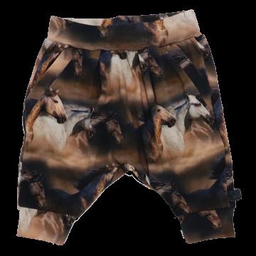 Pantaloni harem din bumbac organic cu imprimeu cai