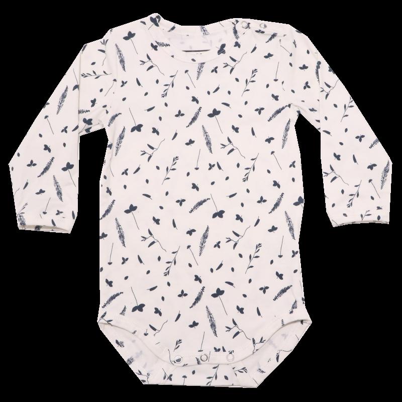 Body cu mânecă lungă albă cu imprimeu flori și frunze