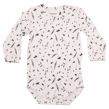 Body cu mânecă lungă albă cu imprimeu flori și frunze BeKids