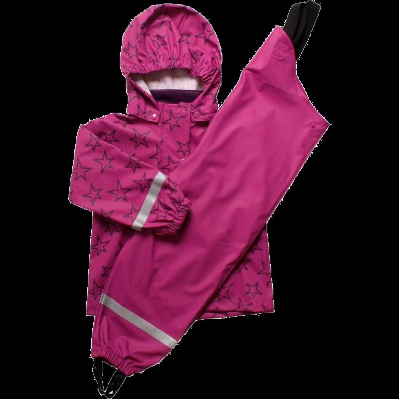 Set de ploaie roz violet: geacă, pantaloni și sac