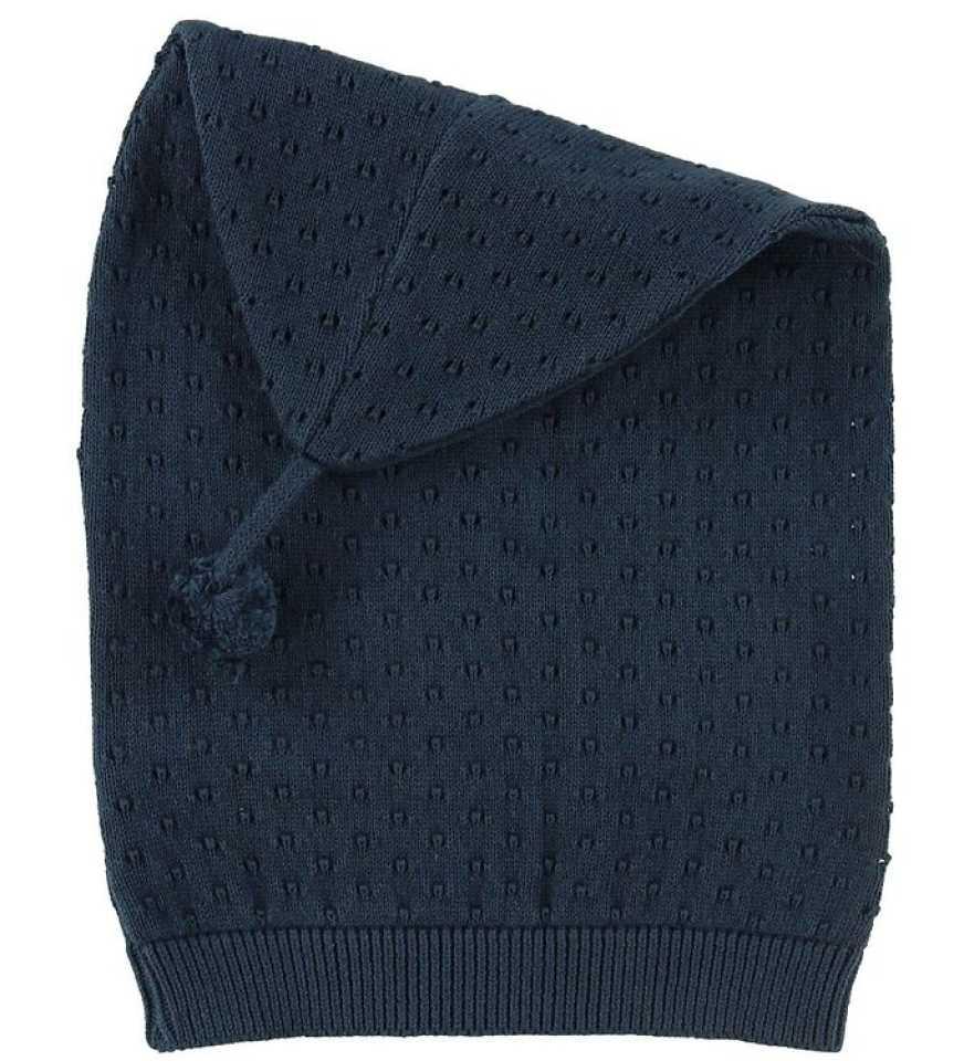 Căciulă bleumarin tricotată cu ciucuraș pentru bebeluși