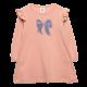 Rochie roz pudrat cu croială în A și mânecă lungă