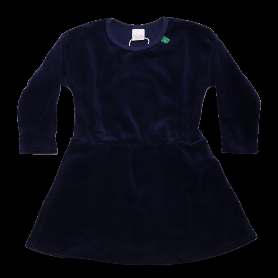 Rochie bleumarin din catifea cu mânecă lungă