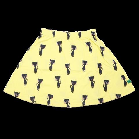 Fustiță galbenă cu imprimeu pisici