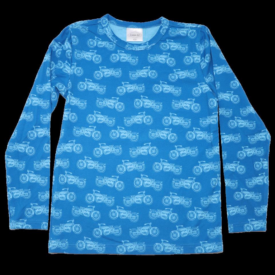 Bluză albastră cu imprimeu motociclete