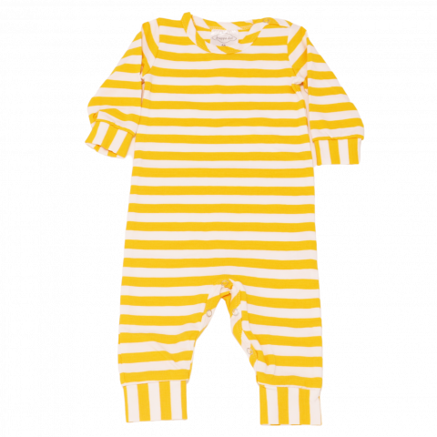 Salopetă cu dungi galbene pentru bebeluși