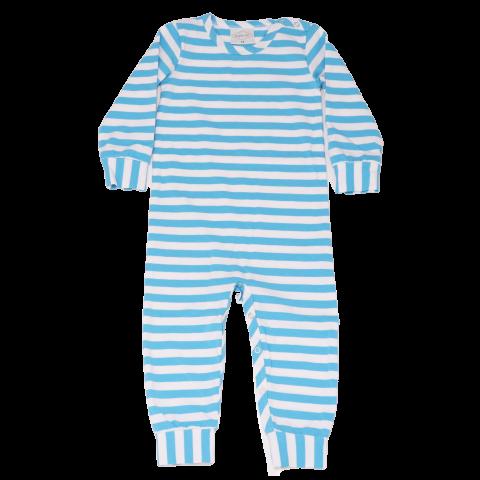 Salopetă cu dungi bleu pentru bebeluși
