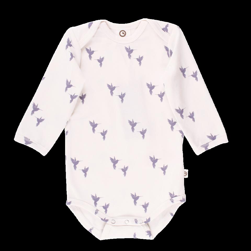 Body alb cu mânecă lungă și imprimeu păsări