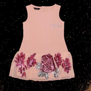 Rochie roz de ocazie cu paiete