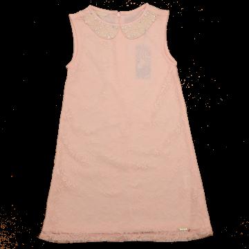 Rochie din dantelă roz cu guler din perle