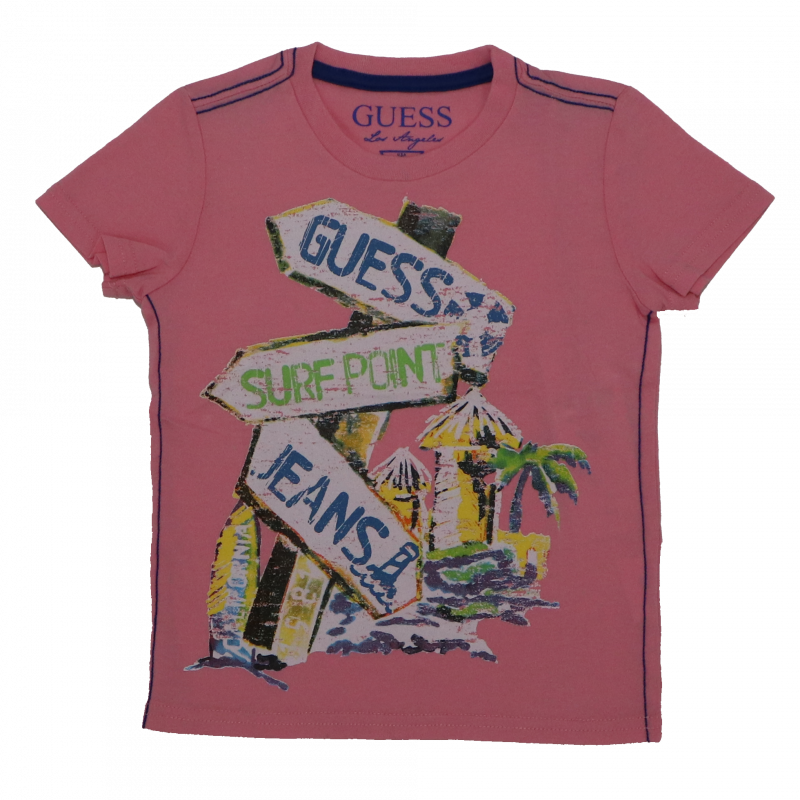 Tricou roz cu imprimeu surf