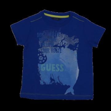 "Tricou albastru cu imprimeu ""Don't waste your time"""