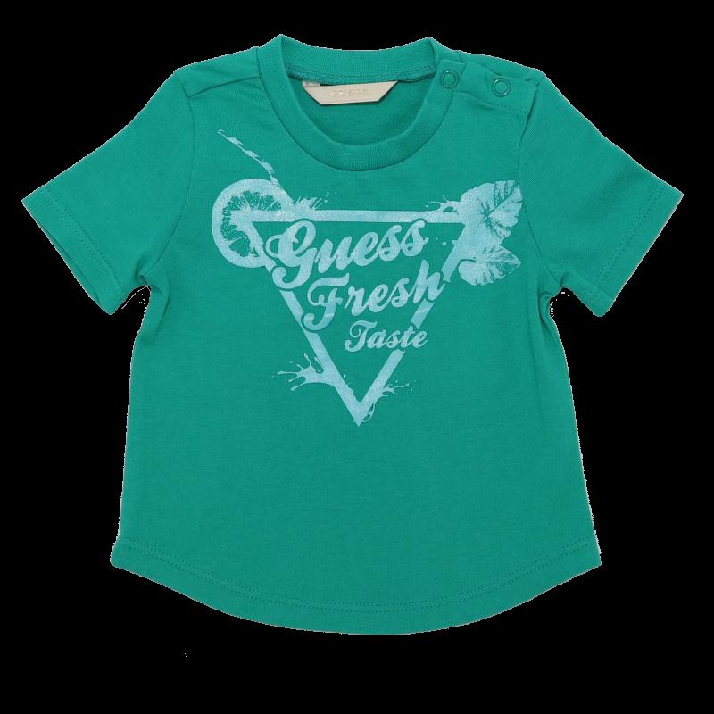 Tricou verde cu imprimeu Guess Fresh Taste