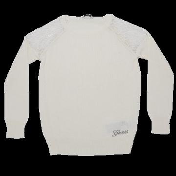 Bluză albă cu umeri din dantelă