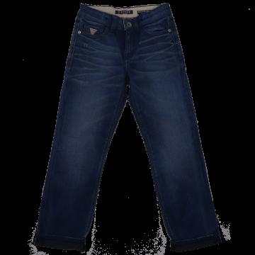 Blugi bleumarin cu talie ajustabilă și manșete